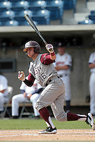 Mikey Reynolds #16 of the Texas A&M Aggies bats against the Pepperdine Waves at Eddy D. Field Stadium on March 23, 2012 in Malibu,California. Texas A&M defeated Pepperdine 4-0.(Larry Goren/Four Seam Images)