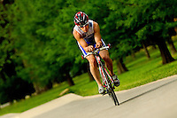 A tri-athlete training