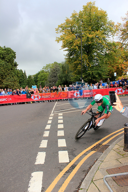 Ryan Mullen (IRL) in action during the Men Elite Individual Time Trial of the UCI World Championships 2019 running 54km from Northallerton to Harrogate, England. 25th September 2019.<br /> Picture: Andy Brady | Cyclefile<br /> <br /> All photos usage must carry mandatory copyright credit (© Cyclefile | Andy Brady)
