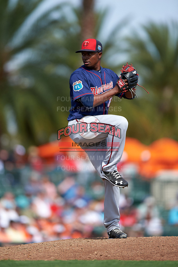 Minnesota Twins relief pitcher Randy Rosario (76) delivers a pitch during a Spring Training game against the Baltimore Orioles on March 7, 2016 at Ed Smith Stadium in Sarasota, Florida.  Minnesota defeated Baltimore 3-0.  (Mike Janes/Four Seam Images)