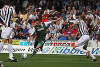 Paul Cairney shoots in the St Mirren v Hibernian Clydesdale Bank Scottish Premier League match played at St Mirren Park, Paisley on 18.8.12.
