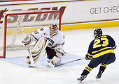 Parker Milner (BC - 35), Chris Barton (Merrimack - 23) - The Boston College Eagles defeated the Merrimack College Warriors 7-0 on Tuesday, February 23, 2010 at Conte Forum in Chestnut Hill, Massachusetts.