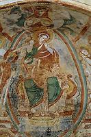 Europe/France/Poitou-Charentes/86/Vienne/Montmorillon: Eglise Notre-Dame _ Peintures murales de la crypte 12 ème siècle relatant le couronnement de Catherine d'Alexandrie