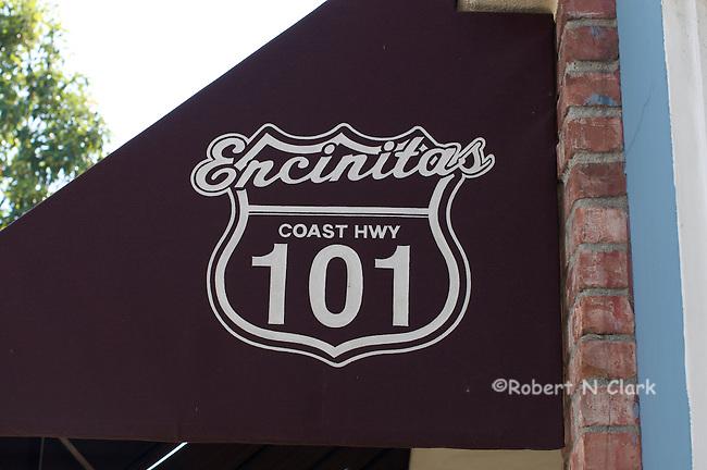 101 sign on awning downtown Encinitas