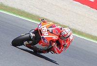 16.06.2013 Barcelona, Spain. Aperol Grand Prix of Catalonia. Picture show Nicky Hayden (Ducati) in action during Moto GP Racing  at Circuit de Catalunya