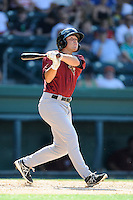Center fielder Patrick Biondi (11) of the Savannah Sand Gnats bats in a game against the Greenville Drive on Sunday, June 22, 2014, at Fluor Field at the West End in Greenville, South Carolina. Greenville won, 7-3. (Tom Priddy/Four Seam Images)