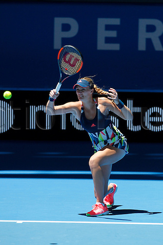 04.01.2017. Perth Arena, Perth, Australia. Mastercard Hopman Cup International Tennis tournament. Kristina Mladenovic (FRA) plays a fore hand shot  during her match against Heather Watson (ENG). Mladenovic won 6-4, 5-7, 6-3.