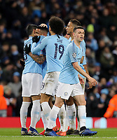 Manchester City's Gabriel Jesus celebrates with team-mates after scoring his side's seventh goal <br /> <br /> Photographer Rich Linley/CameraSport<br /> <br /> UEFA Champions League Round of 16 Second Leg - Manchester City v FC Schalke 04 - Tuesday 12th March 2019 - The Etihad - Manchester<br />  <br /> World Copyright © 2018 CameraSport. All rights reserved. 43 Linden Ave. Countesthorpe. Leicester. England. LE8 5PG - Tel: +44 (0) 116 277 4147 - admin@camerasport.com - www.camerasport.com