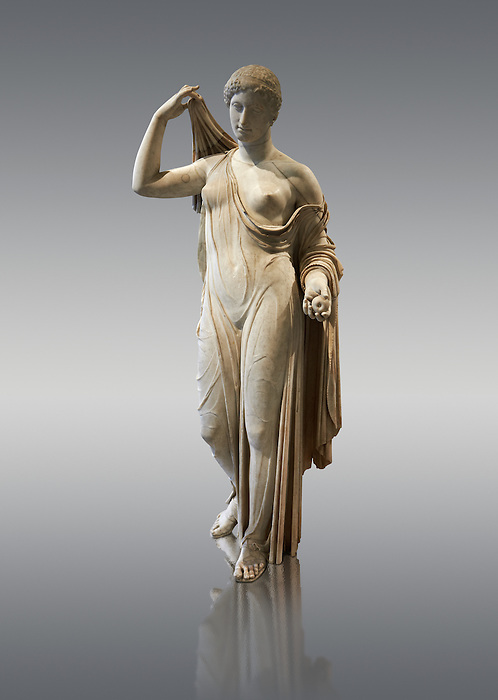 Aphrodite of Fr&eacute;jus in the style known as &quot;Venus Genetrix&quot;. A 1.64m high Roman statue, dating from the end of the 1st century BC to the start of the 1st century AD, in Parian marble, was discovered at Fr&eacute;jus (Forum Julii) in 1650. It is considered as the best Roman copy of the lost Greek work. Louvre Museum, Paris<br /> <br /> The Venus Genetrix style of statue depicts Aphrodite (Venus to the Romans) as Genetrix ( Latin for Mother). This sculptural type was adopted by the Julia-Claudian dynasty after Julius Caesar claimed that he was defended from Venus herself.  The original lost Greek statue is attributed to Greek sculpture Callimachus who created a Bronze Aphrodite in 420-410. According to Pliny's Natural History showing her dressed in a light but clinging chiton or peplos, which was lowered on the left shoulder to reveal her left breast and hung down in a sheer face and decoratively carved so as not to hide the outlines of the woman's body. Venus was depicted holding the apple won in the Judgement of Paris in her left hand, whilst her right hand moved to cover her head. From the lost bronze original are derived all surviving copies. The composition was frontal, the body's form monumental, and in the surviving Roman replicas its proportions are close to the Polyclitean, an ancient Greek sculptor in bronze of the fifth century BC.