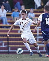 Boston College midfielder/defender Colin Murphy (21) dribbles. Boston College defeated University of Rhode Island, 4-2, at Newton Campus Field, September 25, 2012.