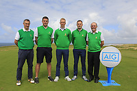 The Tralee Team during the Munster Final of the AIG Barton Shield at Tralee Golf Club, Tralee, Co Kerry. 12/08/2017<br /> <br /> Ger Deegan, Eoghan O'Donnell, Darren O'Sullivan, Fergal O'Sullivan and Paul Hughes (Team Manager). <br /> <br /> Picture: Golffile | Thos Caffrey<br /> <br /> All photo usage must carry mandatory copyright credit     (&copy; Golffile | Thos Caffrey)