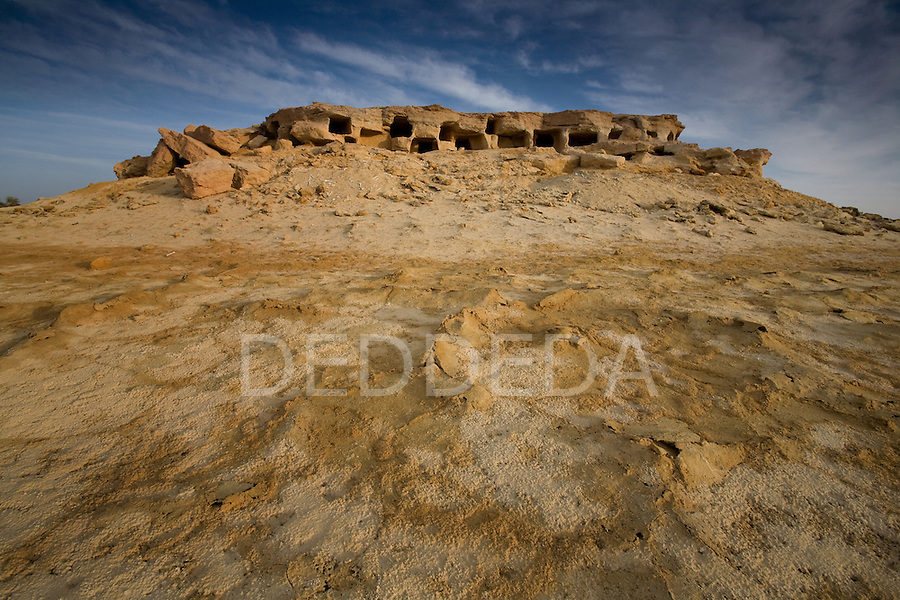 Burial tombs on the outskirts of Siwa Town in the Siwa Oasis, Egypt.