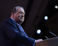 National Harbor, MD - March 7, 2014: Mike Huckabee, former governor of Arkansas, addresses attendees of the 2014 Conservative Political Action Conference held at National Harbor, MD, March 7, 2014.   (Photo by Don Baxter/Media Images International)