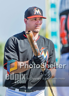10 March 2015: Miami Marlins catcher Jacob Realmuto awaits his turn in the batting cage prior to a Spring Training game against the Washington Nationals at Roger Dean Stadium in Jupiter, Florida. The Marlins edged out the Nationals 2-1 in Grapefruit League play. Mandatory Credit: Ed Wolfstein Photo *** RAW (NEF) Image File Available ***