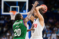 Real Madrid's player Sergio Llull and Unicaja Malaga's player Oliver Lafayette during match of Liga Endesa at Barclaycard Center in Madrid. September 30, Spain. 2016. (ALTERPHOTOS/BorjaB.Hojas) /NORTEPHOTO.COM