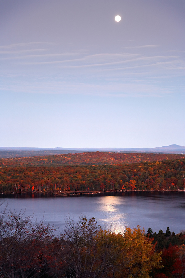Evening moon over Eagle Lake and autumn foliage, Mount Desert Island, Acadia National Park, near Bar Harbor, Maine, USA