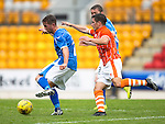 St Johnstone v Blackpool...25.07.15  McDiarmid Park, Perth.. Pre-Season Friendly<br /> Chris Millar and Jack Redshaw<br /> Picture by Graeme Hart.<br /> Copyright Perthshire Picture Agency<br /> Tel: 01738 623350  Mobile: 07990 594431