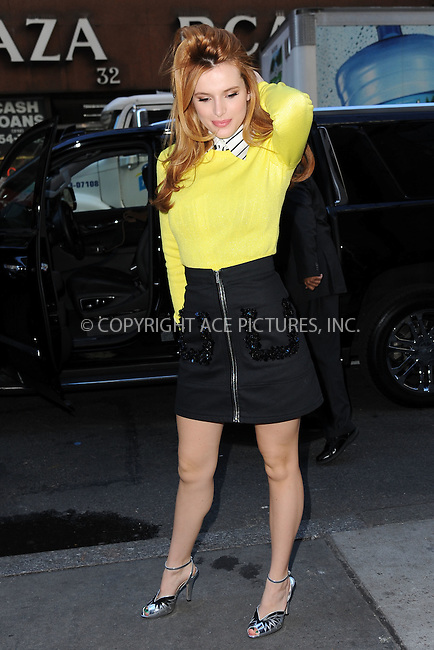 WWW.ACEPIXS.COM<br /> December 16, 2015 New York City<br /> <br /> Bella Thorne arriving to NBC in Rockefeller Plaza on December 16, 2015 in New York City.<br /> <br /> Credit: Kristin Callahan/ACE Pictures<br /> <br /> Tel: (646) 769 0430<br /> e-mail: info@acepixs.com<br /> web: http://www.acepixs.com