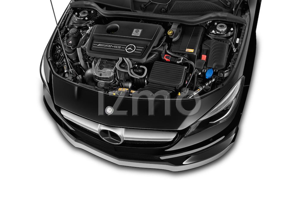 Car stock 2014 Mercedes Benz CLA Class 45 AMG 4 Door Sedan engine high angle detail view