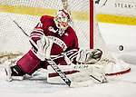 15 November 2015: University of Massachusetts Minuteman Goaltender Nic Renyard, a Freshman from Victoria, British Columbia, makes a third period save during play against the University of Vermont Catamounts at Gutterson Fieldhouse in Burlington, Vermont. The Minutemen rallied from a three goal deficit to tie the game 3-3 in their Hockey East matchup. Mandatory Credit: Ed Wolfstein Photo *** RAW (NEF) Image File Available ***