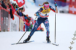 Cross Country Ski World Cup 2018 FIS in Val Di Fiemme, on January 7, 2018; Tour de ski; Final Climb; Women 9.0 Km Pursuit Free; Final podium with victory of Heidi Weng (NOR) ahaed of Ingvild Flugstad Oestberg (NOR) and Jessica Diggins (USA)