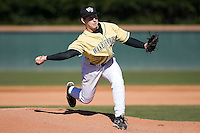 Ryan McGrath (20) of the Wake Forest Demon Deacons delivers a pitch to the plate versus the Clemson Tigers during the second game of a double header at Gene Hooks Stadium in Winston-Salem, NC, Sunday, March 9, 2008.