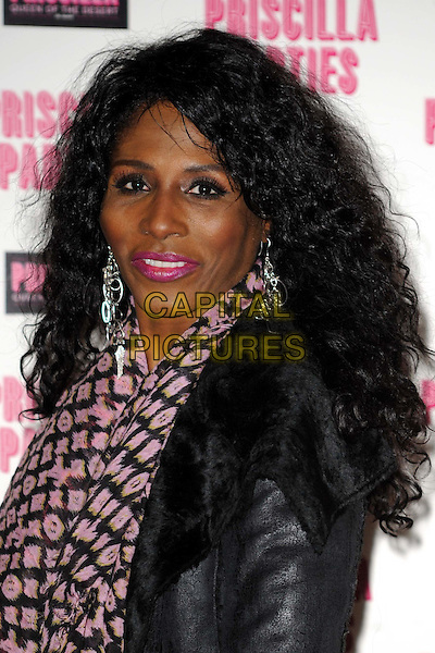 SINITTA (Sinitta Renet Malone).Attending the launch of 'Priscilla Parties' at the Palace Theatre,  London, England, UK, January 24th 2011..portrait headshot pink black leather fur shearling sheepskin print scarf lipstick make-up .CAP/WIZ.© Wizard/Capital Pictures.