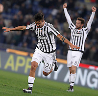 Calcio, Serie A: Lazio vs Juventus. Roma, stadio Olimpico, 4 dicembre 2015.<br /> Juventus&rsquo; Paulo Dybala celebrates after scoring during the Italian Serie A football match between Lazio and Juventus at Rome's Olympic stadium, 4 December 2015.<br /> UPDATE IMAGES PRESS/Isabella Bonotto