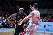 22nd March 2018, Aleksandar Nikolic Hall, Belgrade, Serbia; Turkish Airlines Euroleague Basketball, Crvena Zvezda mts Belgrade versus Fenerbahce Dogus Istanbul; Guard Ali Muhammed of Fenerbahce Dogus Istanbul in action against Guard Branko Lazic of Crvena Zvezda mts Belgrade