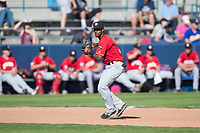 Vancouver Canadians third baseman Otto Lopez (5) prepares to make a throw to first base during a Northwest League game against the Spokane Indians at Avista Stadium on September 2, 2018 in Spokane, Washington. The Spokane Indians defeated the Vancouver Canadians by a score of 3-1. (Zachary Lucy/Four Seam Images)