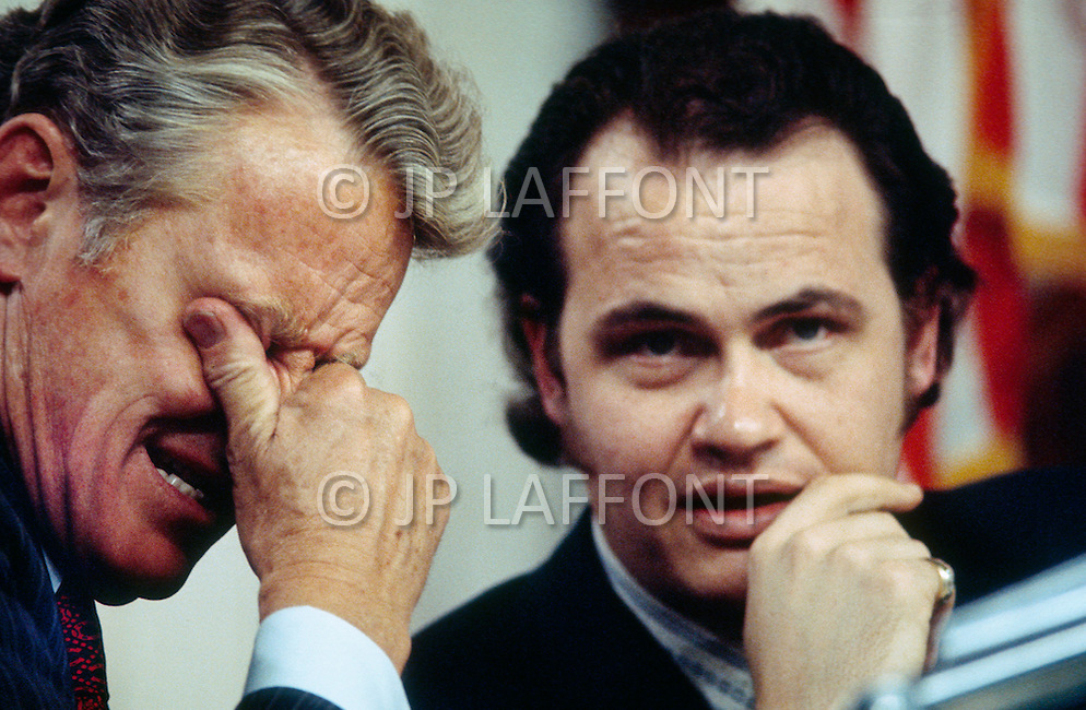 Senator Edward Gurney with Fred Thompson, Minority Council to Republican Senators on Sentae Watergate Hearings, 1973 - A break in at the Democratic National Committee headquarters at the Watergate complex on June 17, 1972 results in one of the biggest political scandals the US government has ever seen.  Effects of the scandal ultimately led to the resignation of  President Richard Nixon, on August 9, 1974, the first and only resignation of any U.S. President.