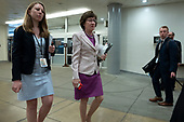 United States Senator Susan Collins (Republican of Maine) passes through the Senate subway on Capitol Hill in Washington D.C., U.S. on July 16, 2019.<br /> <br /> Credit: Stefani Reynolds / CNP