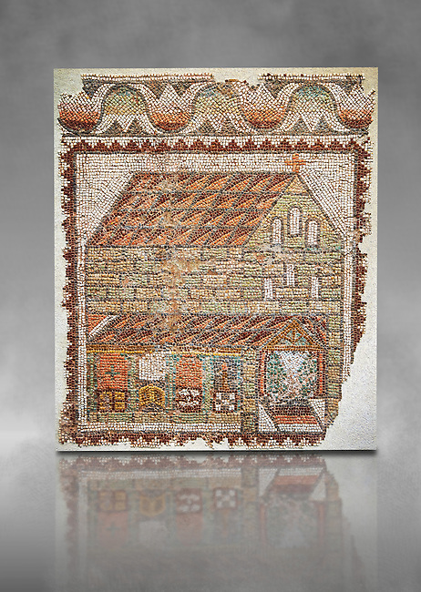 Roman mosaic of an early Christian Basilica from the Eastern Mediterranean, late 5th century AD. Marble blocks, limestone, sandstone and terracotta. The church has three naves and is represented in a 'flattened Perspective' as can be seen by the facade and along sides forming a straight continuous line. The side wall is deliberately open to make the interior visible . Inv 3677, Louvre Museum, Paris