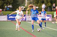Boston, MA - Friday August 04, 2017: Katie Bowen, Julie King during a regular season National Women's Soccer League (NWSL) match between the Boston Breakers and FC Kansas City at Jordan Field.