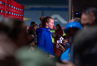 CARSON, CA - FEBRUARY 7: Sam Mewis #3 of the United States talks to the media during a game between Mexico and USWNT at Dignity Health Sports Park on February 7, 2020 in Carson, California.