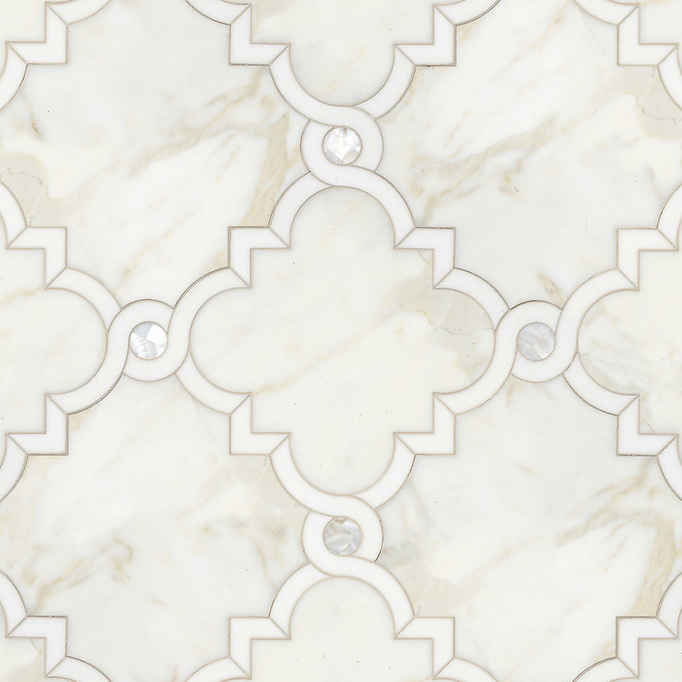 Atticus, a waterjet stone mosaic, shown in honed Calacatta, polished Thassos and Shell, is part of the Parterre Collection by New Ravenna.