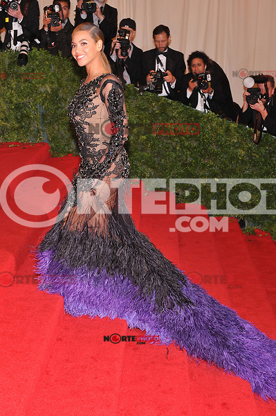 Beyonce at the 'Schiaparelli And Prada: Impossible Conversations' Costume Institute Gala at the Metropolitan Museum of Art on May 7, 2012 in New York City. © mpi03/MediaPunch Inc.
