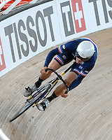 CALI – COLOMBIA – 28-02-2014: Thomas Boudat de Francia durante prueba de la Vuelta Lanzada del Omnium Hombres en el Velodromo Alcides Nieto Patiño, sede del Campeonato Mundial UCI de Ciclismo Pista 2014. / Thomas Boudat of France during the test of Men´s Omnium Flyng Lap in Alcides Nieto Patiño Velodrome, home of the 2014 UCI Track Cycling World Championships. Photos: VizzorImage / Luis Ramirez / Staff.