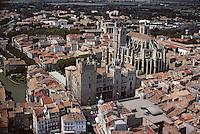 Europe/France/Languedoc-Roussillon/11/Aude/Narbonne: Vue aérienne de la cathédrale Saint Just
