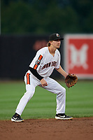 Aberdeen IronBirds shortstop Clay Fisher (19) during a NY-Penn League game against the Vermont Lake Monsters on August 19, 2019 at Leidos Field at Ripken Stadium in Aberdeen, Maryland.  Aberdeen defeated Vermont 6-2.  (Mike Janes/Four Seam Images)