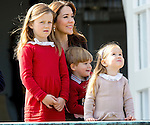 16-04-2014 Balcony 74th birthday of the Danish Queen at Marselisborg Castle in Aarhus.<br /> Princess Mary and Princess Isabella, Vincent and Princess Josephine.<br /><br /> <br /> Credit: PPE/face to face<br /> - No Rights for Netherlands -