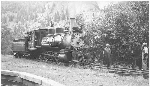 3/4 engineer's-side view of D&amp;RGW #315 switching at Ouray.<br /> D&amp;RGW  Ouray, CO