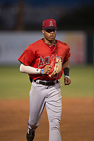 AZL Angels center fielder Jordyn Adams (21) jogs off the field between innings of an Arizona League game against the AZL Padres 2 at Tempe Diablo Stadium on July 18, 2018 in Tempe, Arizona. The AZL Padres 2 defeated the AZL Angels 8-1. (Zachary Lucy/Four Seam Images)
