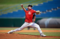 Keegan Allen (1) of IMG Academy in Rogers, AR during the Perfect Game National Showcase at Hoover Metropolitan Stadium on June 20, 2020 in Hoover, Alabama. (Mike Janes/Four Seam Images)