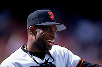 SAN FRANCISCO, CA - Portrait of Deion Sanders of the San Francisco Giants smiling during a game at Candlestick Park in San Francisco, California in 1995. Photo by Brad Mangin