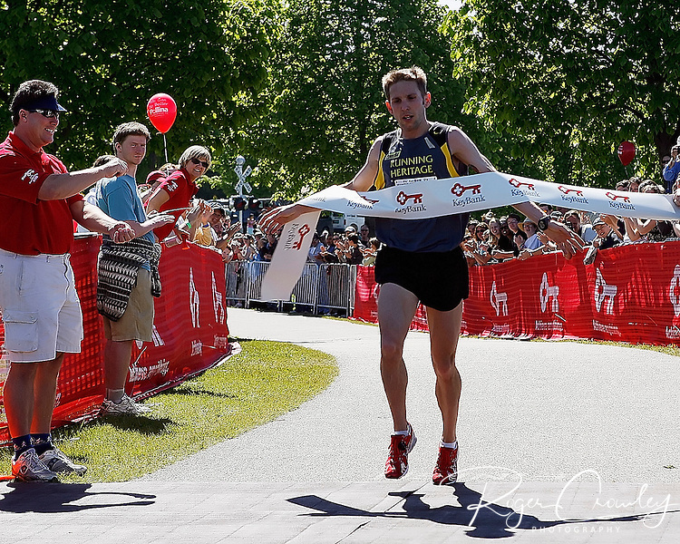 Roger Crowley/Times Argus.Matt Pelletier of Rhode Island won his third straight KeyBank Vermont City Marathon held Sunday in Burlington. Pelletier took the men's title in an unofficial time of 2 hours, 20 minutes, 43 seconds.