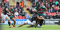 Leicester Tigers' Manu Tuilagi is tackled by Newcastle Falcons' Sonatane Takulua <br /> <br /> Photographer Stephen White/CameraSport<br /> <br /> Gallagher Premiership Round 2 - Leicester Tigers v Newcastle Falcons - Saturday September 8th 2018 - Welford Road - Leicester<br /> <br /> World Copyright &copy; 2018 CameraSport. All rights reserved. 43 Linden Ave. Countesthorpe. Leicester. England. LE8 5PG - Tel: +44 (0) 116 277 4147 - admin@camerasport.com - www.camerasport.com