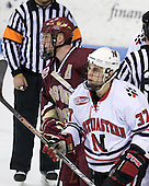 Tim Filangieri (Boston College - 5), Rob Rassey (Northeastern - 37) - The Northeastern University Huskies defeated the Boston College Eagles 2-1 OT in the NU senior night game on Friday, March 6, 2009 at Matthews Arena in Boston, Massachusetts.
