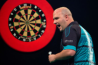 27th October 2019, Gottingen, Lower Saxony, Germany:  PDC European Championships; Final round; Rob Cross of England gestures in the final against Price.