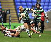 READING, ENGLAND :  Shane Geraghty of London Irish charges forward during the Amlin Challenge Cup match between London Irish and Bordeaux-Begles at Madejski Stadium on January 18, 2013 in Reading, England.
